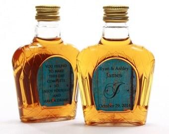 Custom Mini Liquor Bottle Labels Wedding Favors Blue Barn Siding Crown Labels