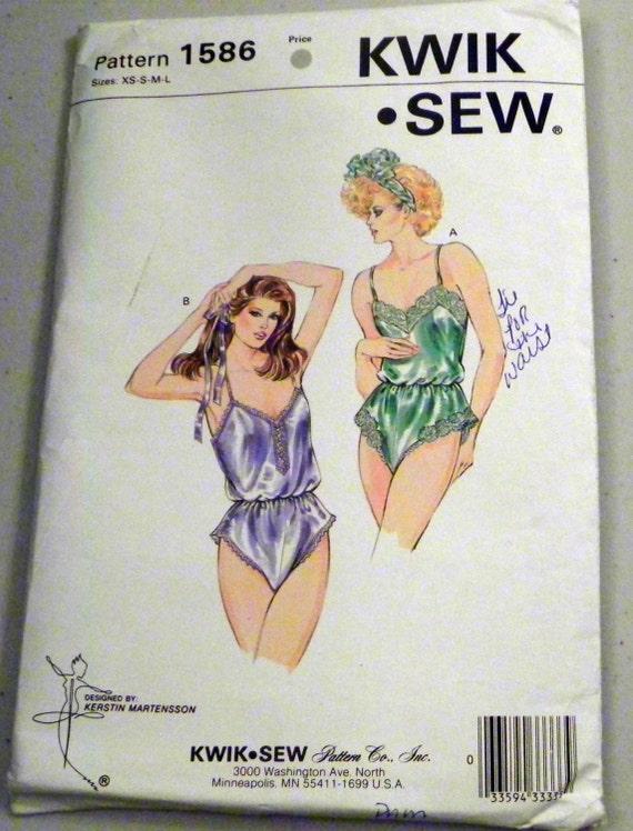 """1980s Teddy Lingerie Sewing pattern Kwik Sew 1586 Size XS-S-M-L Bust 31.5-41.5"""""""