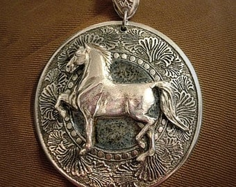 Horse necklace, Morgan Horse Pendant in silver-pewter handmade by artist USA