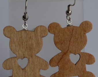 Scroll Saw Teddy Bear Earrings