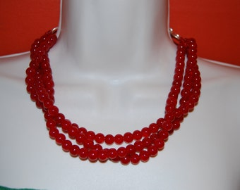 Red Statement Necklace Chunky Red Beaded Necklace Bold Multi-Strand Wedding Jewelry Bridesmaids Necklace