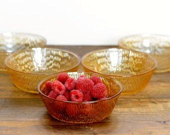 Amber-lustre dessert bowls, set of five