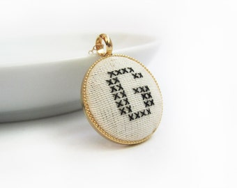 Embroidered Necklace. With Any Initial. Cross Stitch.