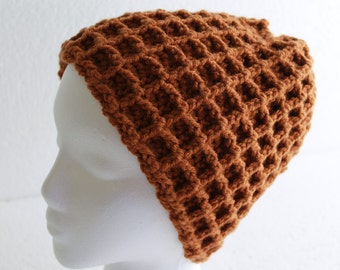 Hand Crochet Waffle Hat Golden Brown Ski Cap Men's Winter Wear Button Top Slouch Hat Ready To Ship