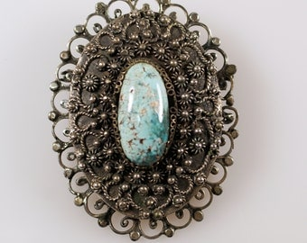 Antique Egyptian 800 Silver Cannetille Wire Work Filigree Turquoise Pendant Pin