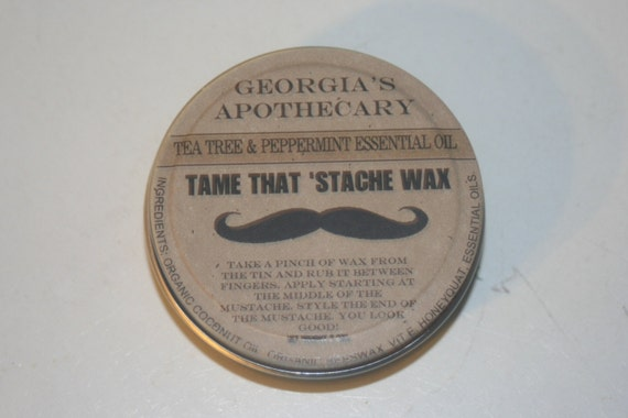 "Tame That ""Stache Wax-made with Organic ingredients- 2 oz Eucalyptus Spearmint essential oil"