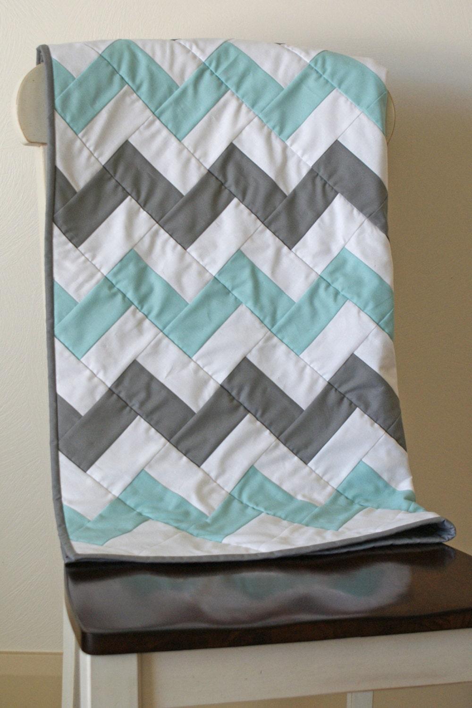 Chevron Quilt Gray Aqua Turquoise Baby Blanket