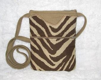 Zebra Print Small Purse Cross Body Oatmeal, Brown Home Décor Fabric with Linen Strap - Womens Shoulder Bag Long Strap - Brown Zebra Purse