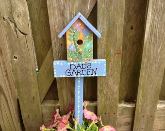 Dad's Garden birdhouse garden stake