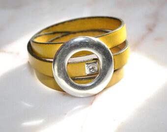 Yellow Snap Around Leather Bracelet