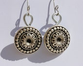 Antique Silver Buttons Earrings, Handmade