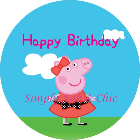 Happy Birthday Cupcake Topper ~ Peppa pig happy birthday cupcake topper tags digital dyi
