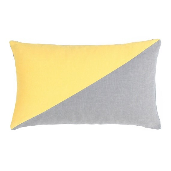 Throw Pillows 20 X 12 Yellow : 12 X 20 Solid Duo Yellow & Grey Oblong Throw Pillow by BHDecor