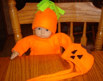Snuggle Sleeper and 2 hats 15 inch Baby Doll orange falll or Halloween Bunting DYD116