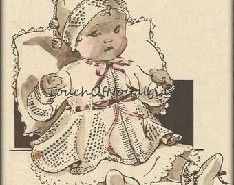 Flared MATINEE COAT Antique Knitting Pattern - Beautiful Flared Matinee Coat Set / Bonnet & Bootie Socks / OpenWork Flared Godet Inserts