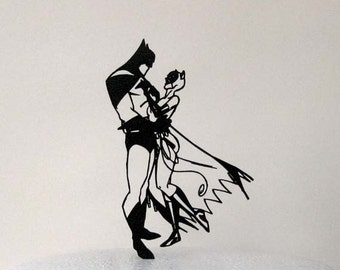 Wedding Cake Topper - Batman and Catwoman silhouette cake topper