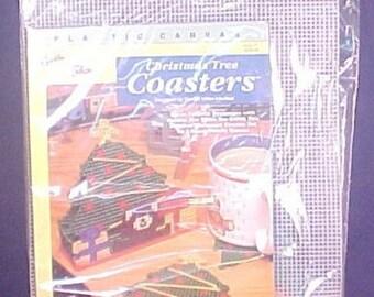 NIP Needlepoint Christmas Tree Coaster Set Needlecraft