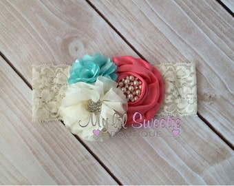 New coral aqua ivory trio - Vintage style headband-  wedding headband - adult headband- teen headband- toddler headband- infant headband