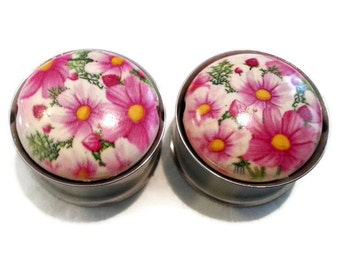 Pink Daisies Plugs size 1 inch (25mm)
