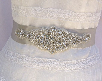 SALE 25% Off Limited Time, Beaded Bridal Sash, Wedding Sash in Platinum With Crystals & Pearls, Bridal Belt, COLOR CHOICES