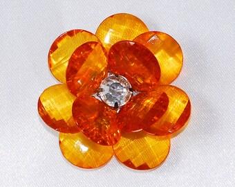 1.75 Inch Large Orange Acrylic Flower Cabochon Kawaii Decoden Flat Back Floral Embellishment Rhinestones