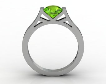 Modern 14K White Gold Elegant and Luxurious Engagement Ring or Wedding Ring with a Peridot Center Stone R667-14KWGPE