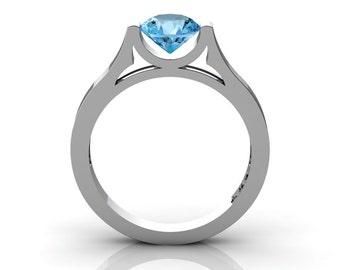 Modern 14K White Gold Beautiful Wedding Ring or Engagement Ring for Women with 1.0 Ct Aquamarine Center Stone R665-14KWGAQ