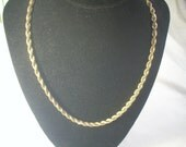 Heavy Chunky Gold Tone Twisted Rope Chain Necklace Vintage & free gift