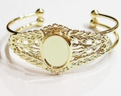 2 of 18x13 mm Shiny Gold Victorian Wreath Cuff Bracelet Settings,  Great for Cameos, Cabs, or Glass