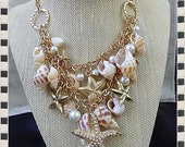 Seashells & Starfish two tiered Gold Necklace