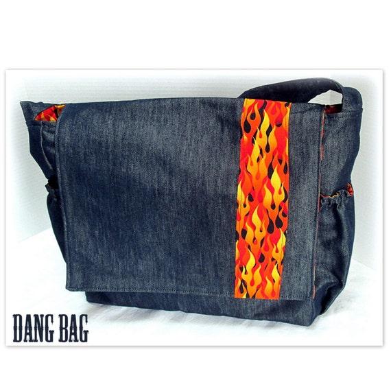 dad 39 s diaper bag denim flames messenger diaper bag by thebossycow. Black Bedroom Furniture Sets. Home Design Ideas