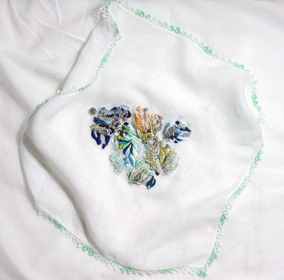 Contemporary, Handcrafted Embroidery on Vintage Handkerchief by Lorena Marañón