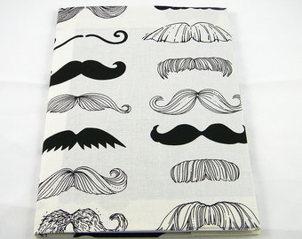 Mustache Reusable Composition Book Cover (Handmade in the United States)