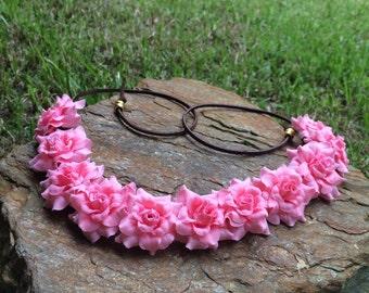 EDC light pink roses flower halo