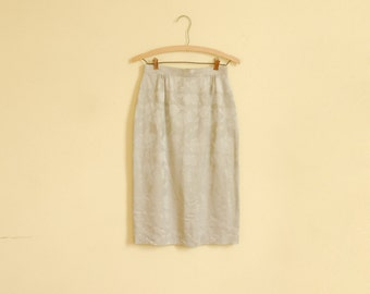 Silver Floral Silk Midi-Skirt - Early 90s