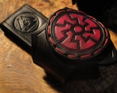 Viking Black Sun Embossed Handmade leather Hand Axe, or similar tool Belt loop.