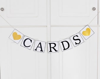 FREE SHIPPING, Cards banner, Bridal shower banner, Wedding banner, Engagement party decoration, Photo prop, Bachelorette party decor, Gold