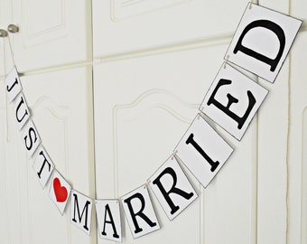FREE SHIPPING, Just Married banner, Bridal shower banner, Wedding banner, Engagement party decoration, Photo prop, Bachelorette party, Red