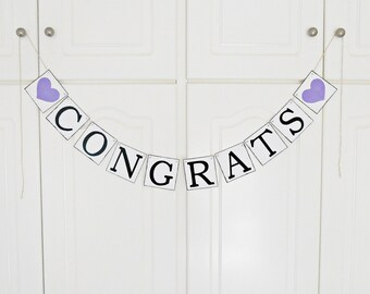 FREE SHIPPING, Congrats banner, Graduation banner, Bridal shower banner, Wedding banner, Bachelorette party decor, Engagement party, Purple