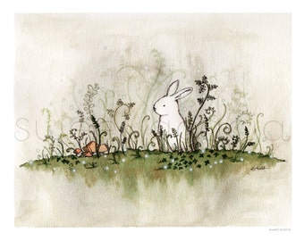 White Rabbit In Mossy Woodland watercolor art print