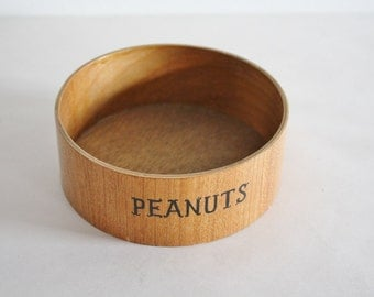 Vintage Small Little Teak Wooden Bowl With Peanuts Title
