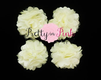 Ivory Satin Mesh Flowers Set of 4...Mini Satin Mesh Flowers...Satin Flowers..Tulle Flowers...Silk Flower
