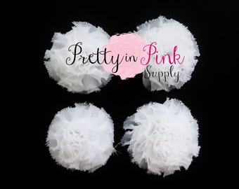 White Mini Shabby Puffs...You Choose Quantity...Shabby Flowers...Mini Shabby Rosettes...DIY Headband supplies