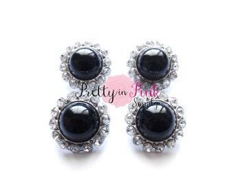 BLACK Rhinestone Pearl Button- Pearl Center Button- Button- Baby Headband- DIY Headband- Embellishment- DIY Headband Supplies