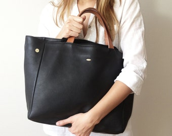 Black Leather Tote, Leather bag, black tote, everyday classic leather tote