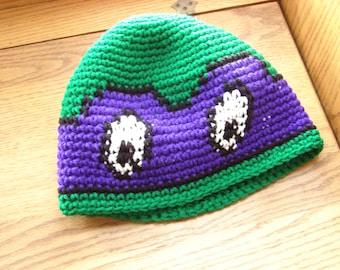 Crochet Teenage Mutant Ninja Turtle Beanie Hat the color Purple of Donatello