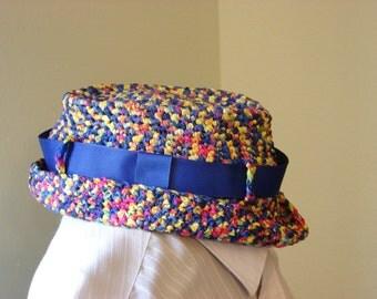 Crochet Rainbow Color Fedora Style Hat