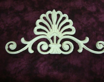 Cast Iron Decorative Scroll Topper Distressed Antique White