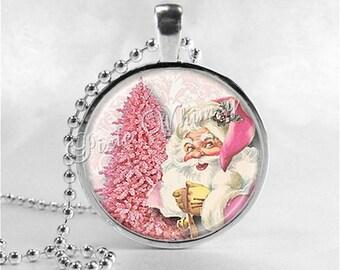 PINK CHRISTMAS Necklace, Pink Santa, Pink Tree, Santa Claus, Christmas Necklace, Christmas Jewelry, Vintage Christmas, Pink Shabby Christmas