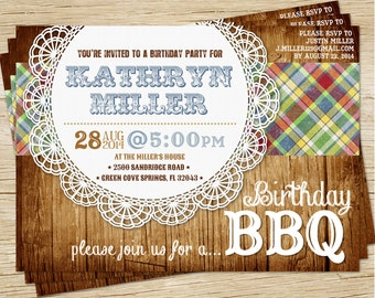 Rustic Wood Birthday BBQ Invitation - Printable Digital File